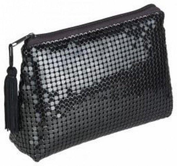 Kosmetiktasche oval schwarz im eleganten Pailletten-Design