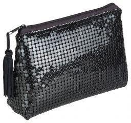 Kosmetiktasche eckig schwarz im eleganten Pailletten-Design